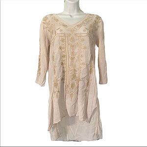 Johnny Was Embroidered Tunic Top Shirt Tribal S